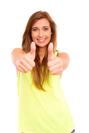 Happy teenager wearing braces, posing isolated over a white background Stock Photo - 19821167
