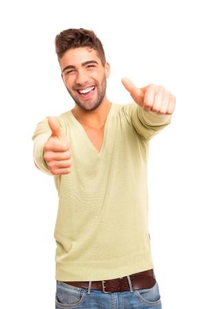陽性 - 白で分離を表現する若いハンサムな男