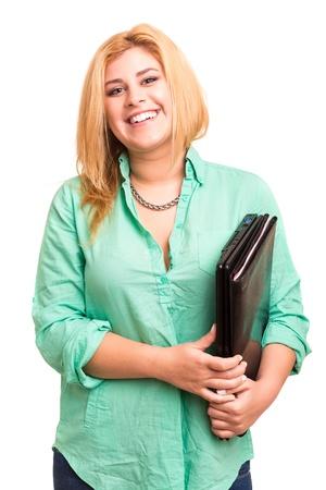 행복 overweighted 여자 흰색 배경 위에 격리 된 포즈 스톡 콘텐츠