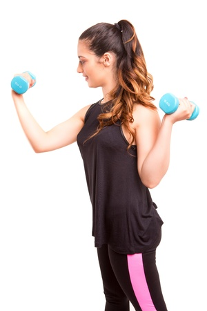 aerobic exercise: A beautiful young woman in great shape - fitness concept