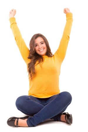 confianza: Mujer muy feliz levantando los brazos y celebrar Foto de archivo