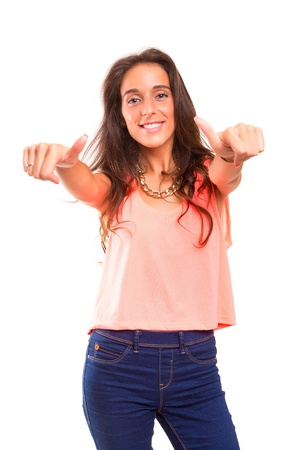 Beautiful young woman signaling ok, isolated over white photo