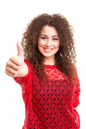 Beautiful young woman signaling ok, isolated over white