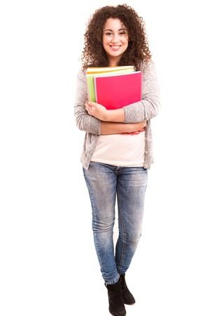젊고 아름다운 아시아 학생 포즈 위에 흰색 격리