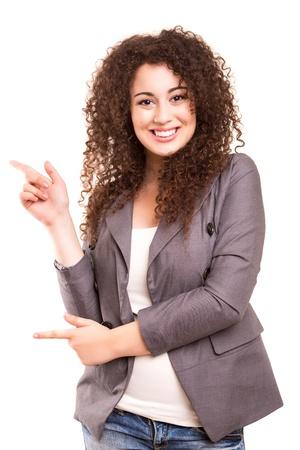 お使いの製品を提示美しい若いビジネス女性