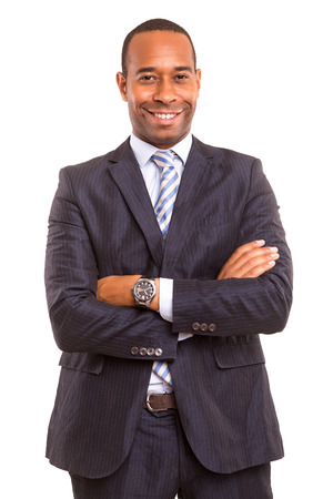 young handsome african business man posing isolated over white