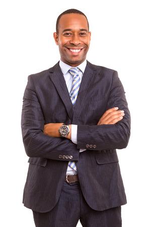 hombres de negro: joven hombre de negocios africano guapo posando aislado más de blanco Foto de archivo