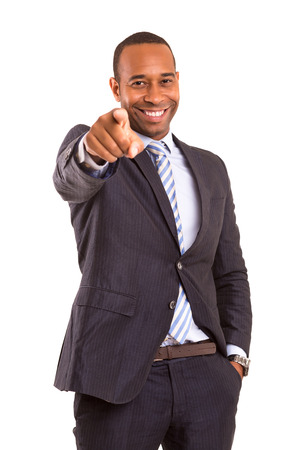 African business man poiting at you, isolated over white photo