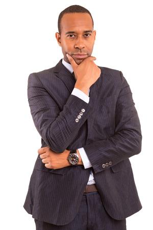 若いハンサムなアフリカ ビジネス男白で隔離されたポーズ