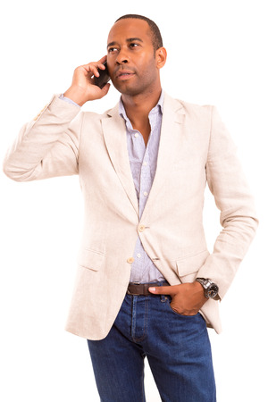 Young african business man on the phone photo