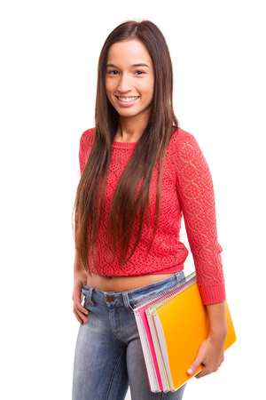 A happy asian student, isolated over a white background photo