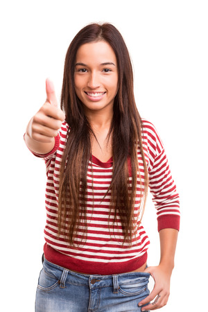 Young asian woman expressing positivity, isolated over white photo