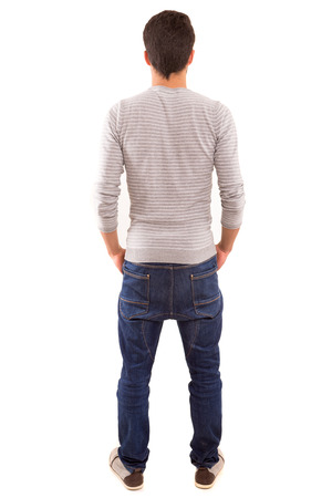 young man: Young man with back turned to camera Stock Photo