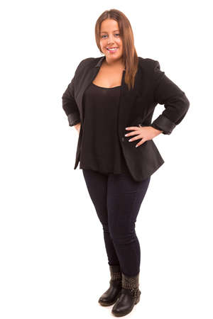 full suit: A Happy Large business woman - isolated over white background Stock Photo