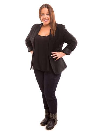 obeso: Una mujer feliz negocio grande - aislada sobre fondo blanco Foto de archivo