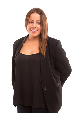 A Happy Large business woman - isolated over white background Stock Photo