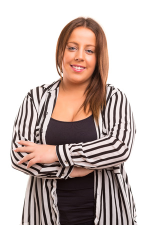 A Happy Large business woman - isolated over white background photo