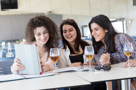 Group of happy students preparing their exams or simply relaxing at a bar photo