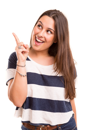 Young human having a brilliant idea, isolated over white background photo