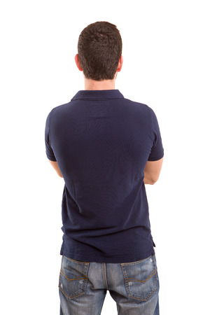 Young man with back turned to camera Stock Photo