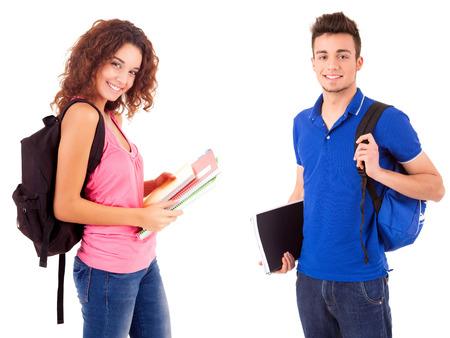 白い背景の上ポーズ若い幸せな学生