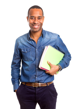 student university: African student posing isolated over white background