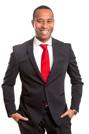 african business man: Young handsome african business man posing isolated over white Stock Photo