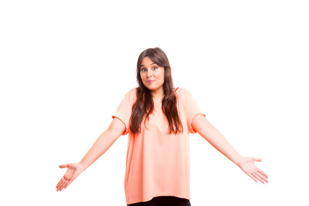 sorry: Woman with open hands asking sorry, isolated