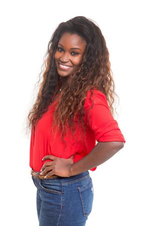 cute teen girl: Красивая молодая африканская женщина создает изолированные на белом