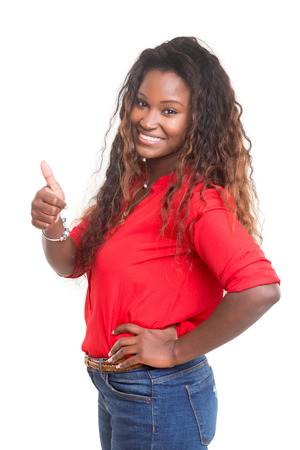 signaling: Beautiful young woman signaling ok, isolated over white