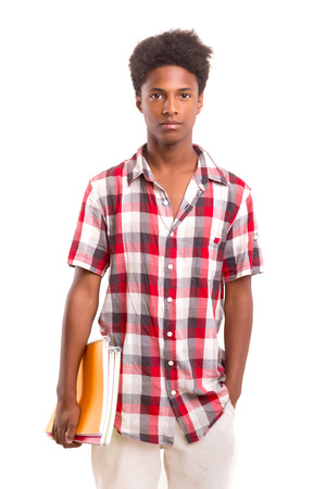african student: Young african student posing isolated over a white background Stock Photo