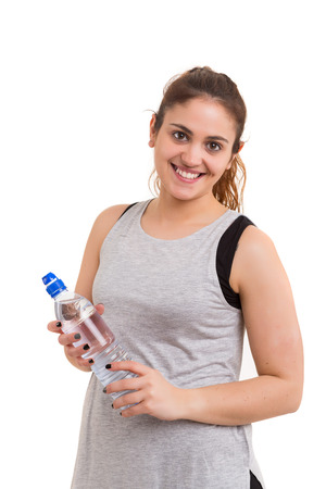 active people: Beautiful large woman exercising - isolated over a white background Stock Photo