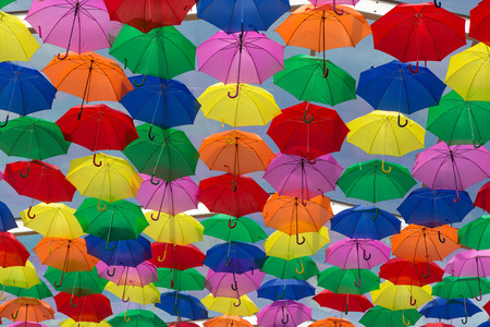 made in portugal: Lots of umbrellas coloring the sky in the city of Agueda, Portugal