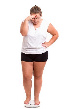 太った女性彼女の体重と非常に心配して