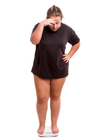 Donna grassa molto preoccupato con il suo peso