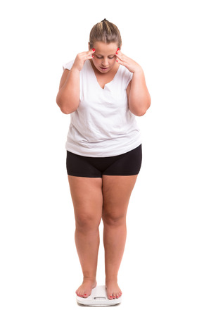 Dikke vrouw erg bezorgd met haar gewicht