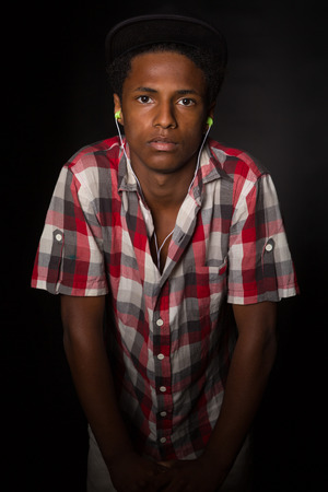handsome boy: A casual young black boy posing isolated