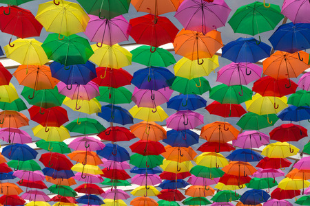 colourful sky: Lots of umbrellas coloring the sky in the city of Agueda, Portugal