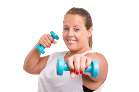 gluttonous: Beautiful large woman exercising - isolated over a white background Stock Photo