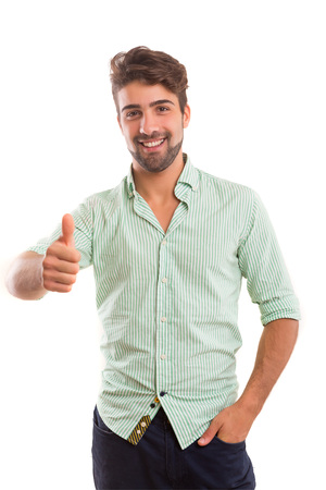 signaling: Handsome young man signaling ok, isolated over a white background