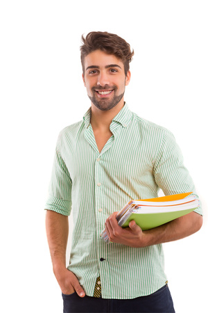 niño con mochila: Estudiante feliz joven posando aislados sobre fondo blanco