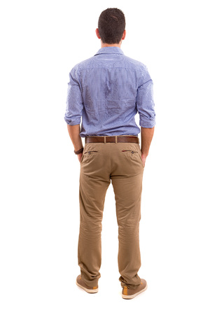 people from behind: Young man with back turned to camera Stock Photo