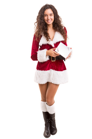 christmas costume: Beautiful young woman dressed with christmas costume, isolated over white Stock Photo