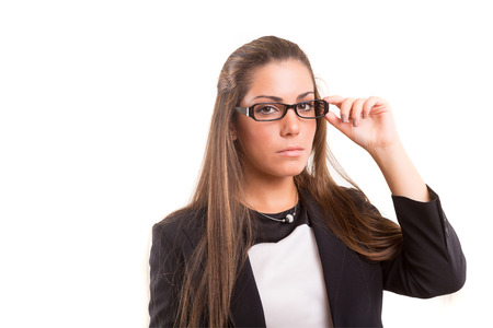 woman wearing glasses: Beautiful young woman wearing glasses, isolated over copy space background
