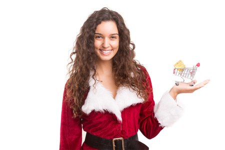christmas costume: Young woman dress in Christmas costume, presenting your product