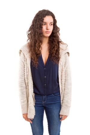 sad: Studio shot of a sad woman, isolated over white
