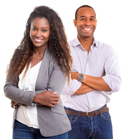 african american businesswoman: Young african couple smiling isolated over a white background Stock Photo