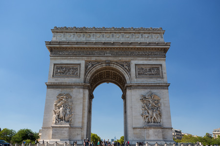 The Famous Arc de Triomphe in Paris, France in the summer of 2016 Stock Photo