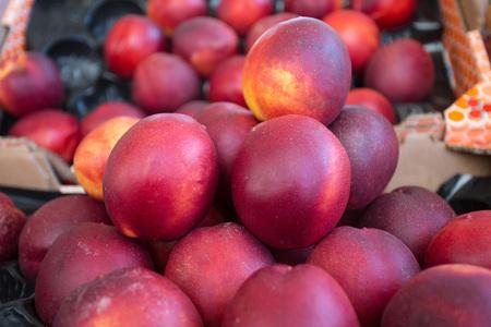 Peaches in the market at Rue Mouffetard in Paris
