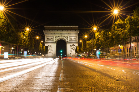 champs elysees: The Famous Arc de Triomphe in Paris, France in the summer of 2016 Stock Photo
